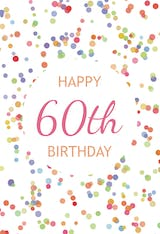 60th Birthday Confetti - Birthday Card