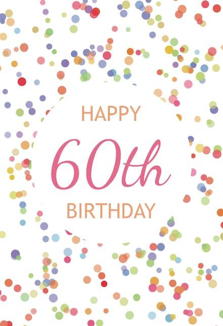 ECard 60th Birthday Confetti