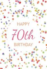 70th Birthday Confetti - Birthday Card