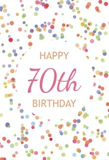 70th Birthday Confetti - Birthday Card