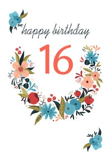 Free sweet 16 birthday cards greetings island floral 16 birthday card m4hsunfo