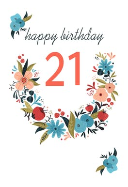 Floral 21 - Birthday Card
