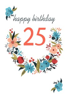 Floral 25 - Birthday Card