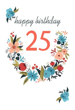 Floral 25 - Birthday Card