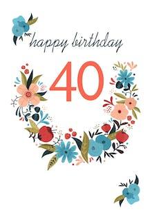 Floral 40 - Birthday Card