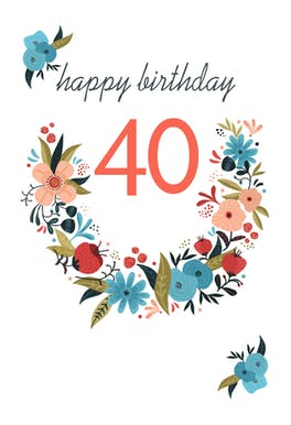 Floral 40 - Birthday Card