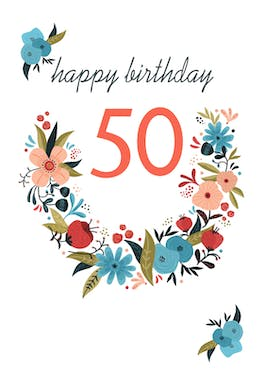 Floral 50 - Birthday Card