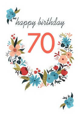 Floral 70 - Birthday Card