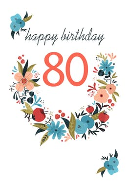 Floral 80 - Birthday Card