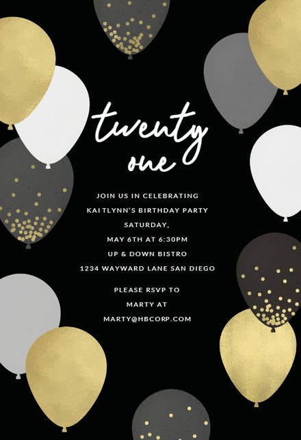 21st birthday invitation templates