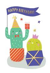 2 happy cactus - Happy Birthday Card