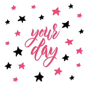 All Yours, a simple happy birthday card with stars in pink and black on a white background