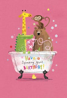 Animals Antics, a happy birthday card for kids with a giraffe, bear, monkey and alligator taking a bath together