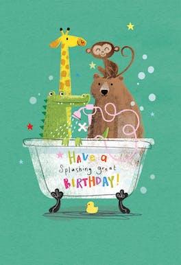 Animal Antics - Happy Birthday Card