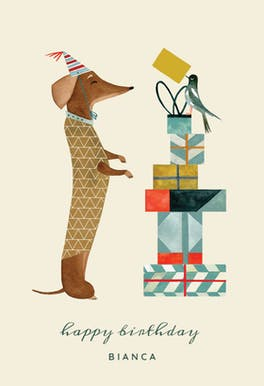 Aschund and Magpie - Birthday Card