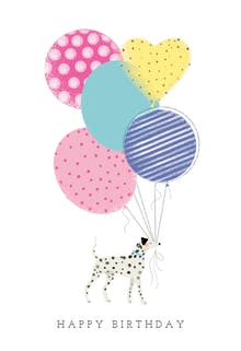 Balloon Holder, a happy birthday card for kids with a dalmatian holding colourful balloons