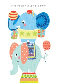 Big Time Balancing, a cute happy birthday card for kids with two circus elephants balancing on top of each other