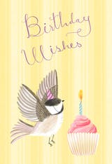 Bird & cupcake - Happy Birthday Card