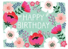 Bountiful Blossoms - Happy Birthday Card