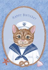 Captain Cat - Happy Birthday Card