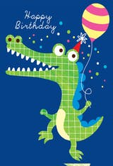 Dancing Crocodile - Happy Birthday Card