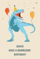 Dinosaur Party - Happy Birthday Card