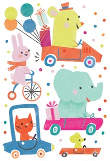 Dotty Driving - Birthday Card