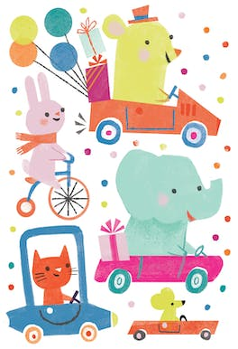 Dotty Driving - Happy Birthday Card