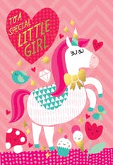 Fantasy Fun, a cute happy birthday card for girls with a beautiful unicorn on a pink background
