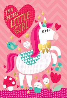 Fantasy Fun A Cute Happy Birthday Card For Girls With Beautiful Unicorn On