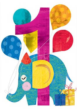 First birthday elephant - Birthday Card