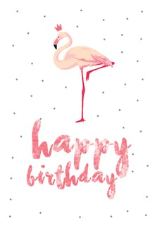 Flamingo birthday - Happy Birthday Card
