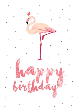 Flamingo birthday - Birthday Card