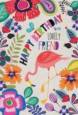 Flamingo Floral - Tarjeta De Cumpleaños