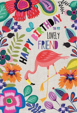 Flamingo Floral - Happy Birthday Card