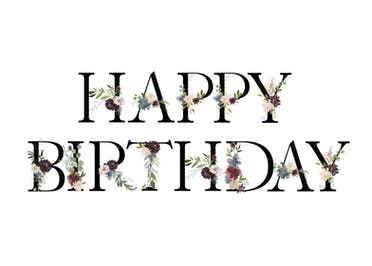 Floral Letters - Happy Birthday Card