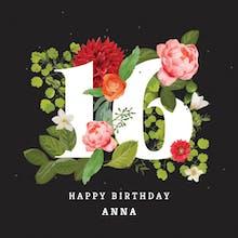 Floral Sixteen - Happy Birthday Card