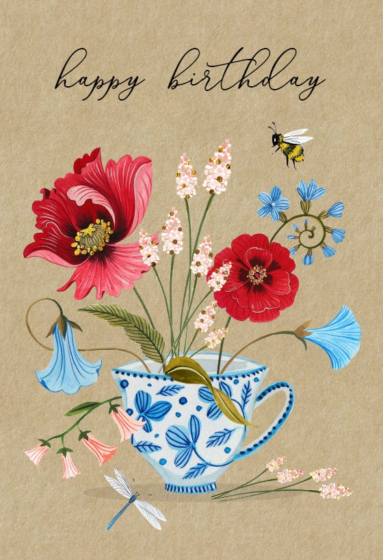 Missing You Teacup Greeting Card
