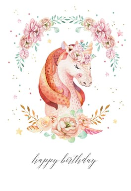 Floral wreath unicorn - Birthday Card