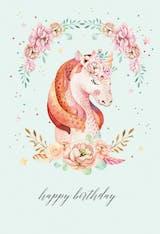 Floral wreath unicorn - Happy Birthday Card