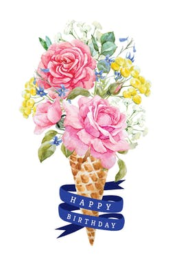 Flowered Ice Cream - Happy Birthday Card