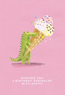 Gator Waiter, a pink birthday card for kids with a cute green crocodile holding an ice cream cone with sprinkles