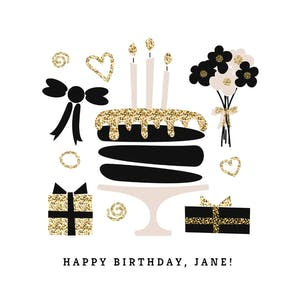 Glitter & Glam - Happy Birthday Card