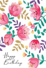 Gouache floral - Happy Birthday Card