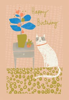 Grinning Gato - Happy Birthday Card