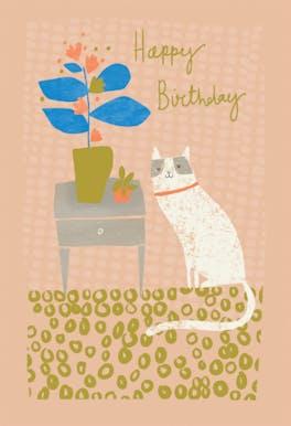 Grinning Gato - Happy Birthday Card