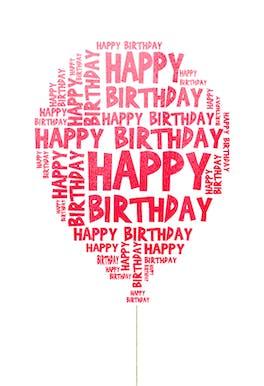 Happy Birthday Balloon - Happy Birthday Card