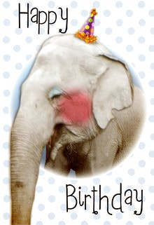 Cute Elephant - Happy Birthday Card