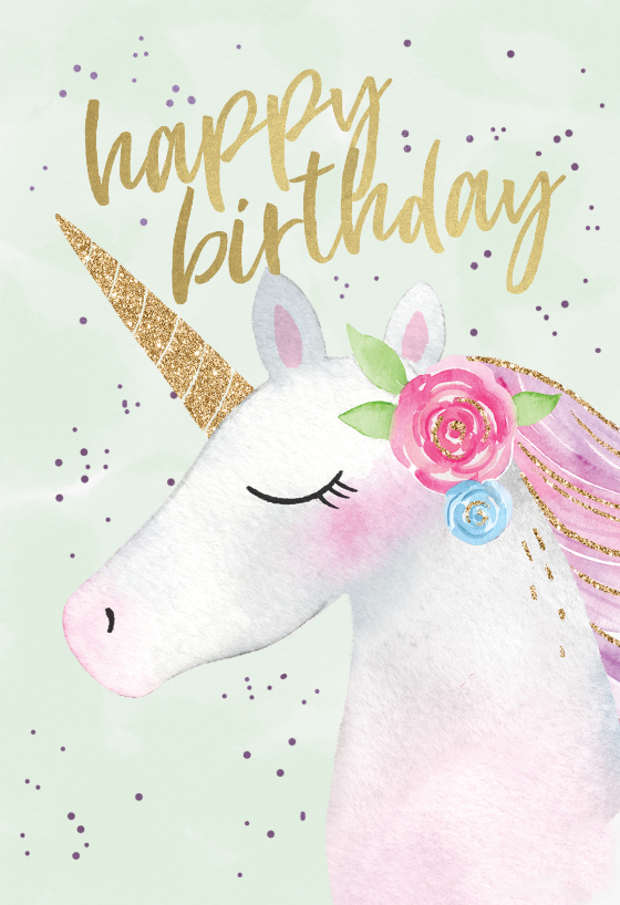 Happy Unicorn Birthday Card Free Greetings Island