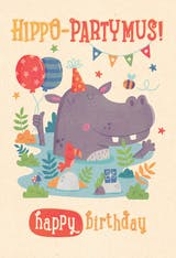 Hippo PARTY-Mus - Happy Birthday Card
